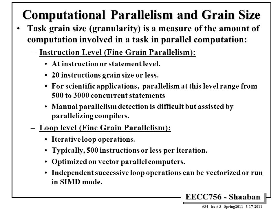 Computational Parallelism and Grain Size