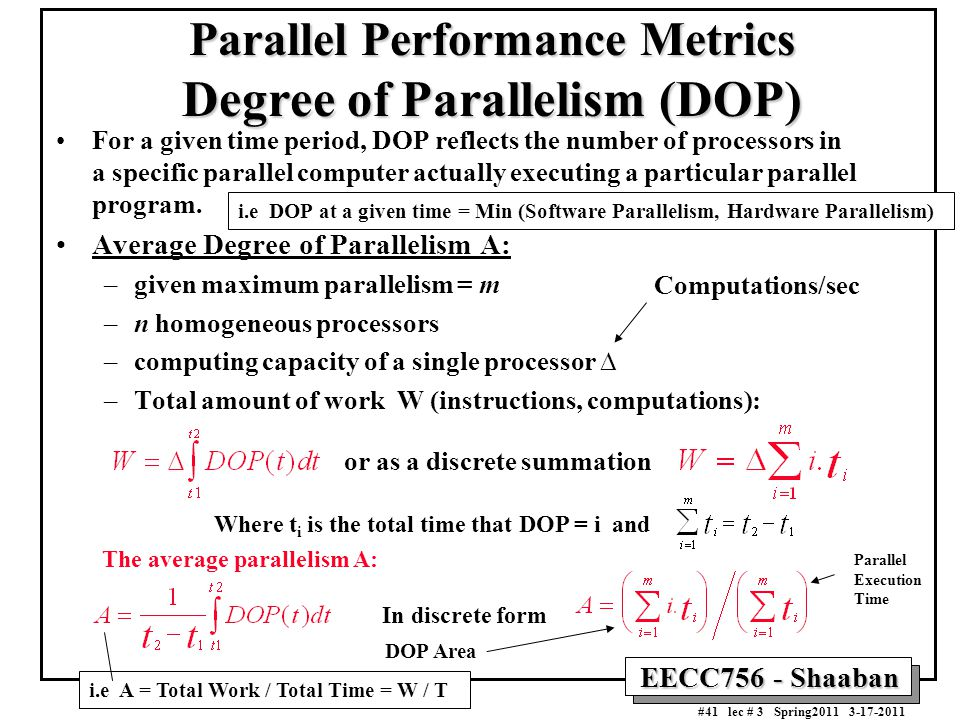 Parallel Performance Metrics Degree of Parallelism (DOP)