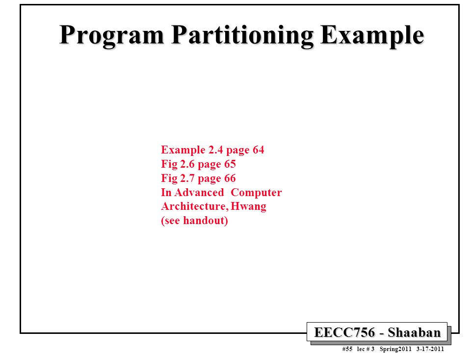 Program Partitioning Example