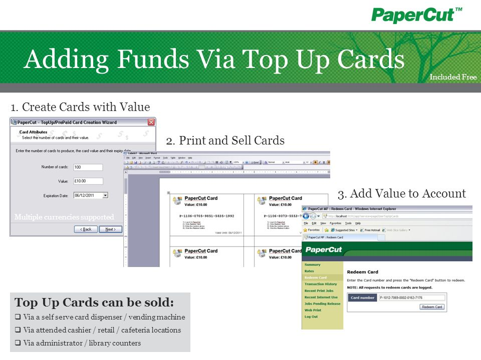 Adding Funds Via Top Up Cards