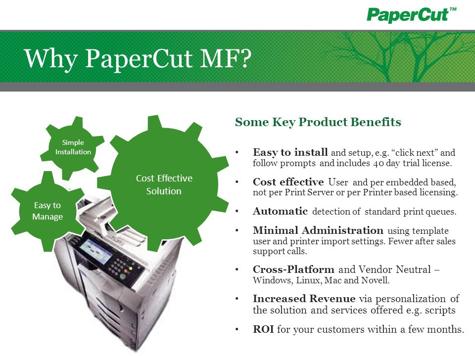 Why PaperCut MF Some Key Product Benefits