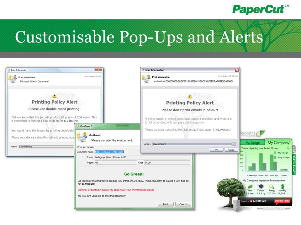 Customisable Pop-Ups and Alerts