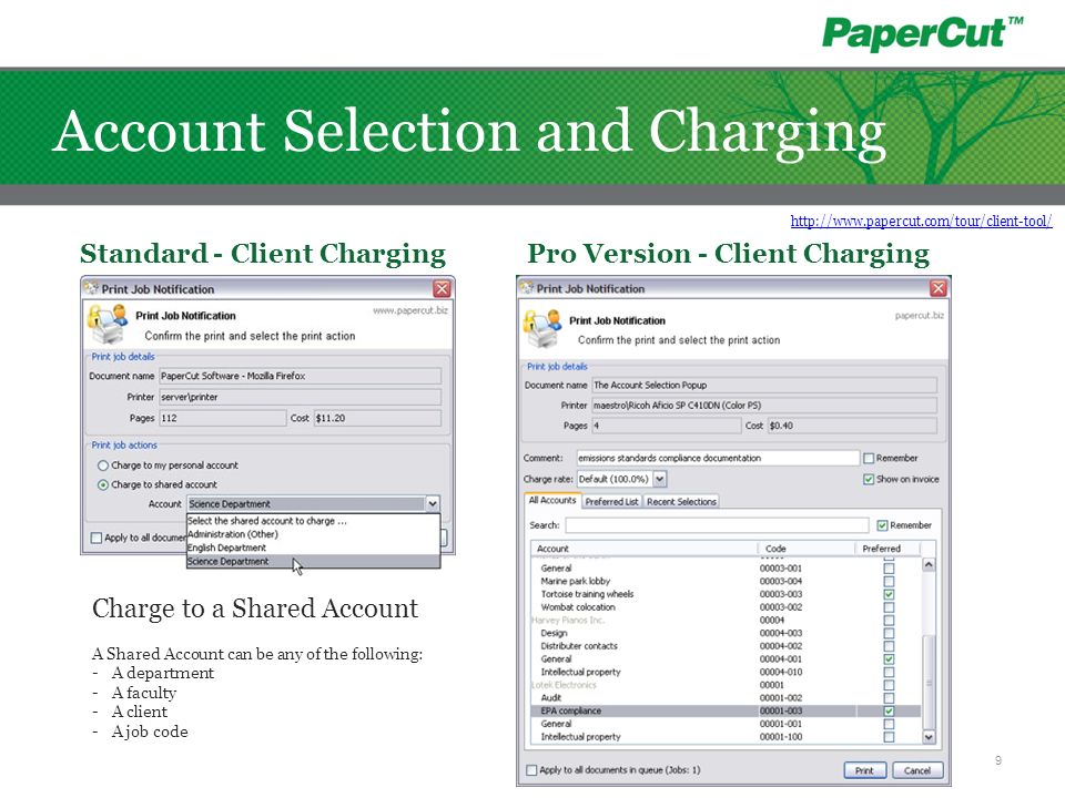 Account Selection and Charging