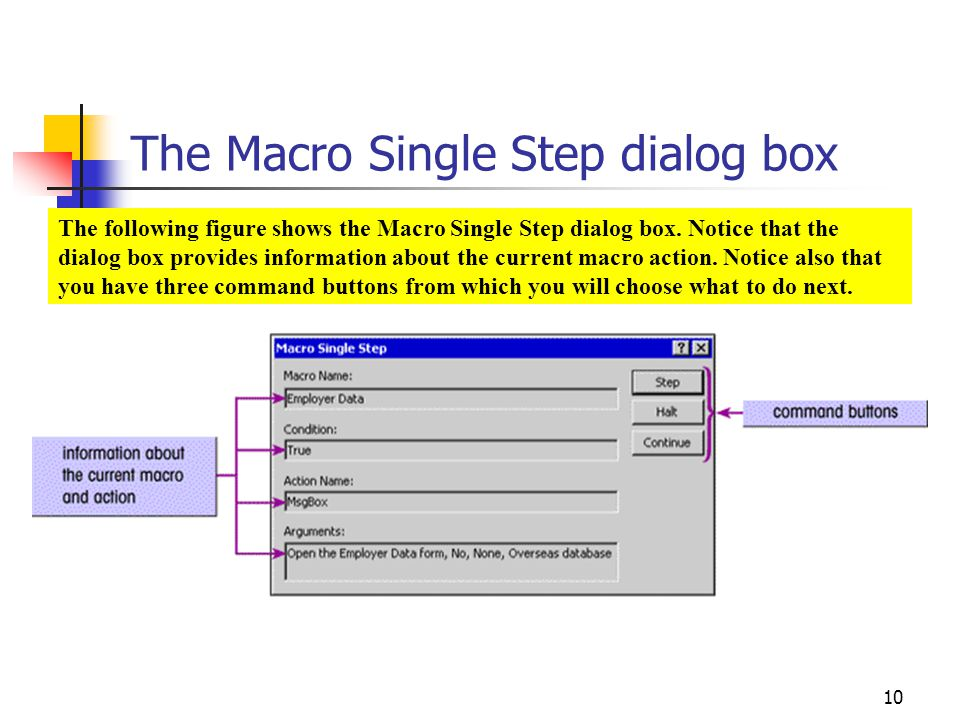 The Macro Single Step dialog box