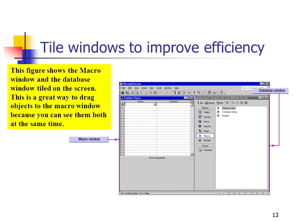 Tile windows to improve efficiency