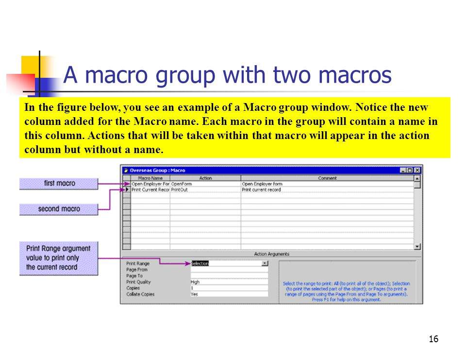 A macro group with two macros
