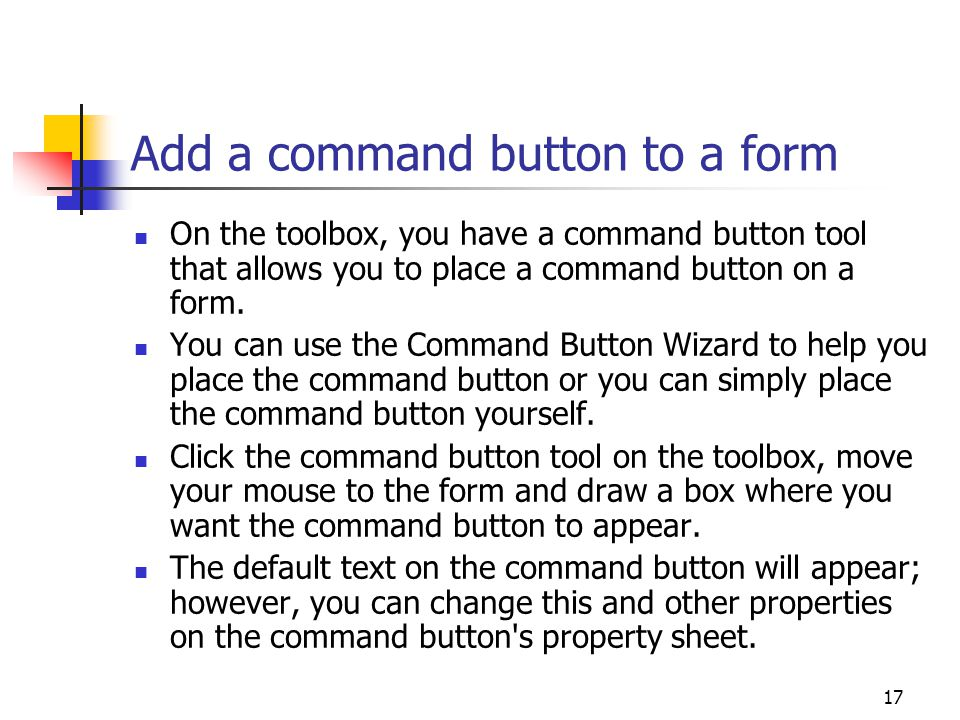 Add a command button to a form