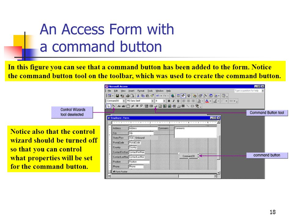 An Access Form with a command button