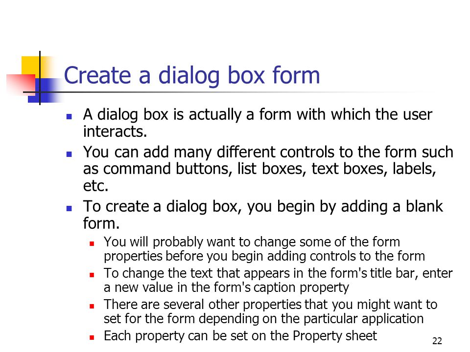 Create a dialog box form