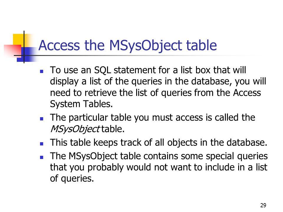 Access the MSysObject table