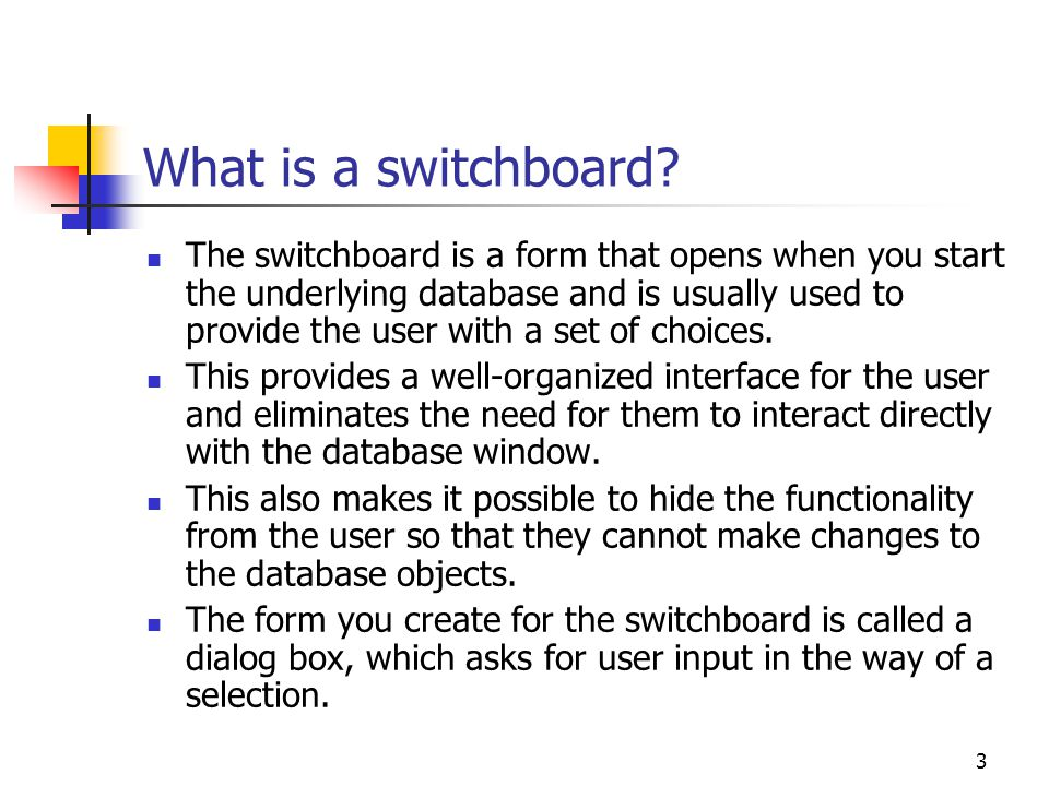 What is a switchboard