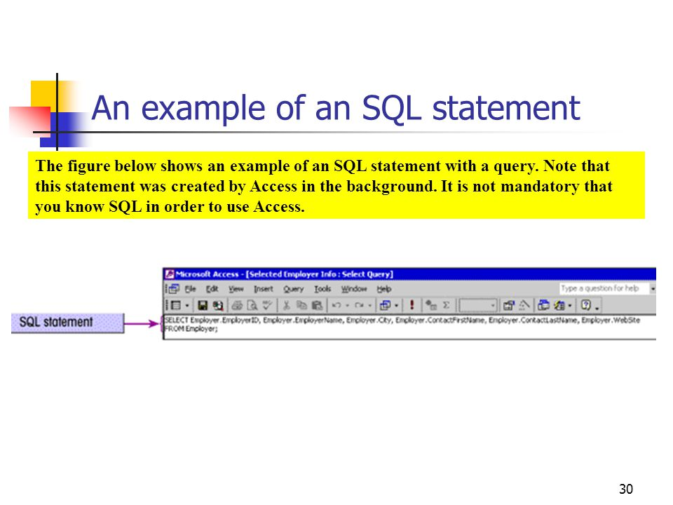 An example of an SQL statement