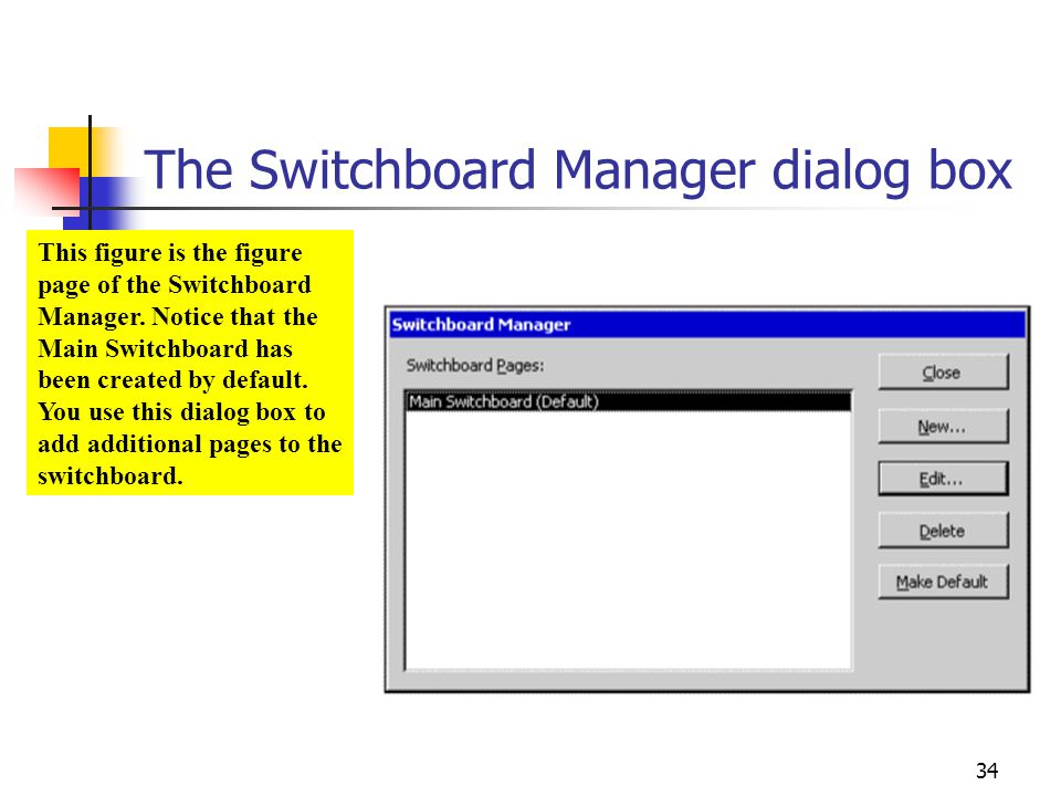 The Switchboard Manager dialog box