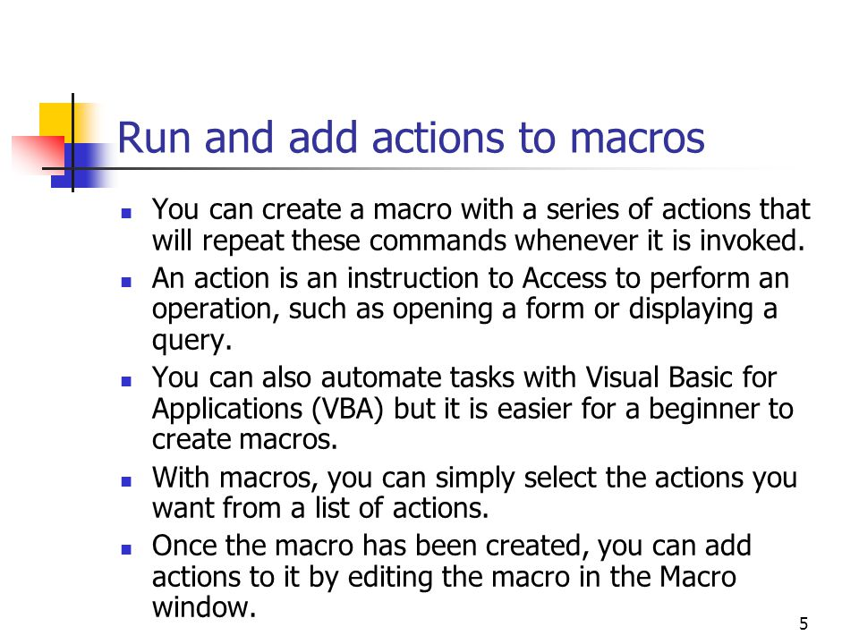 Run and add actions to macros
