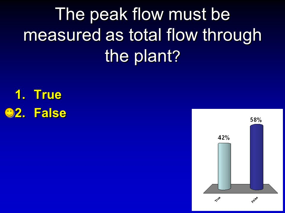 The peak flow must be measured as total flow through the plant