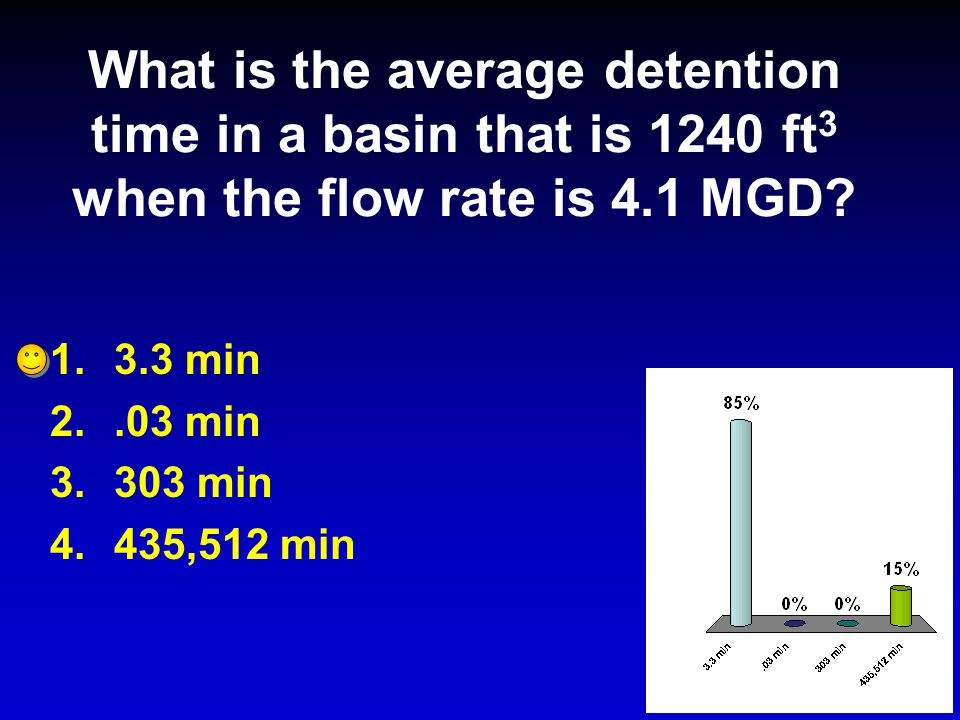 What is the average detention time in a basin that is 1240 ft3 when the flow rate is 4.1 MGD