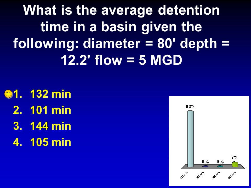 What is the average detention time in a basin given the following: diameter = 80 depth = 12.2 flow = 5 MGD