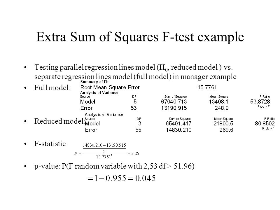 Extra Sum of Squares F-test example