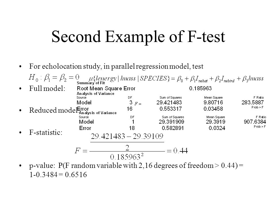 Second Example of F-test