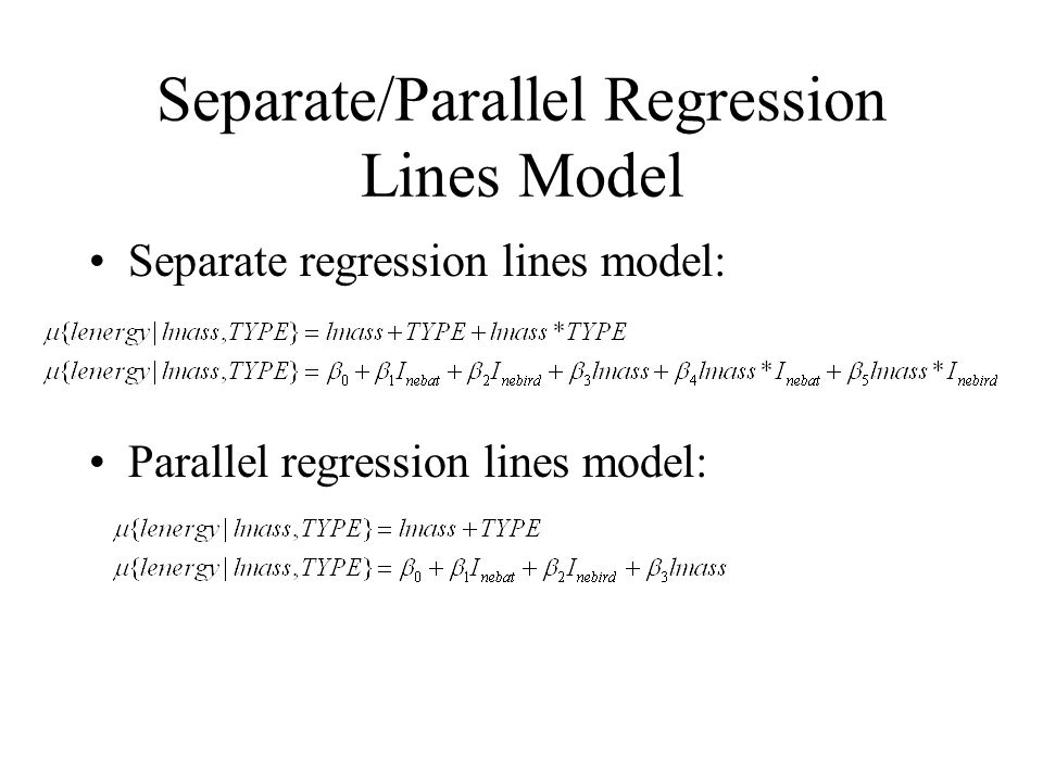 Separate/Parallel Regression Lines Model