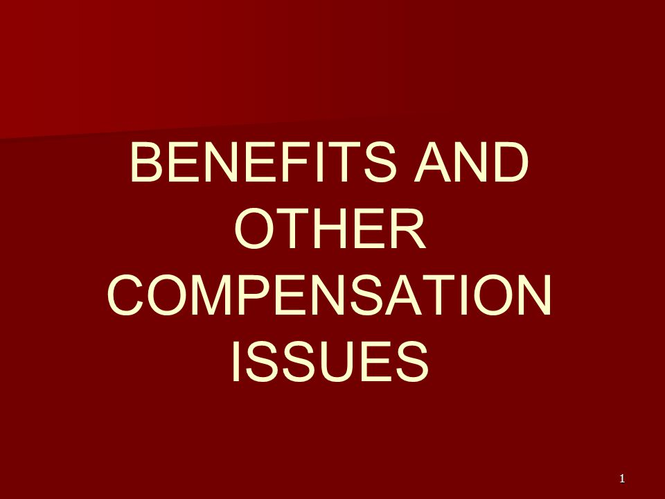 BENEFITS AND OTHER COMPENSATION ISSUES