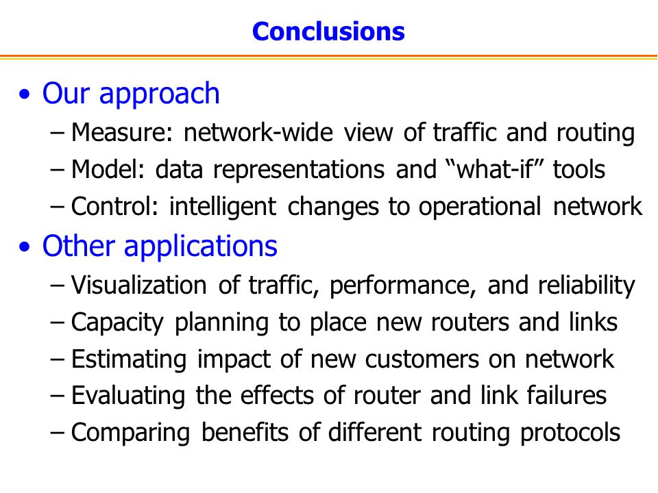 Our approach Other applications Conclusions