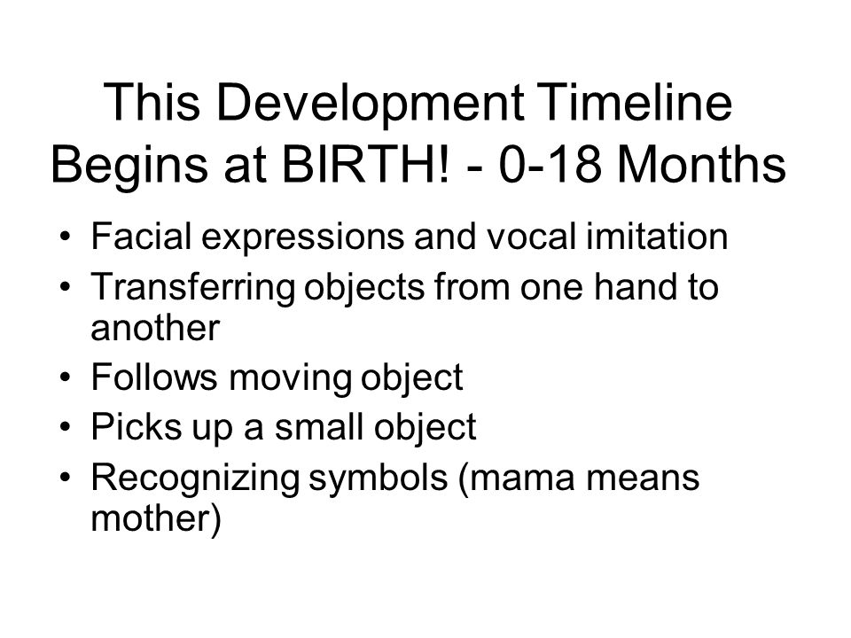 This Development Timeline Begins at BIRTH! Months