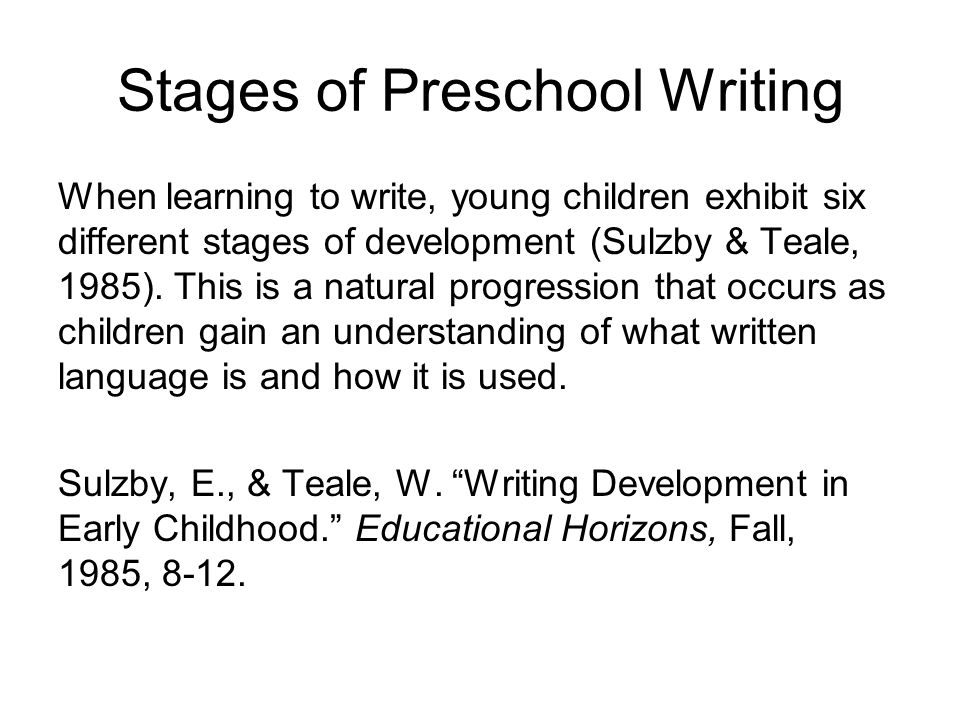 Stages of Preschool Writing