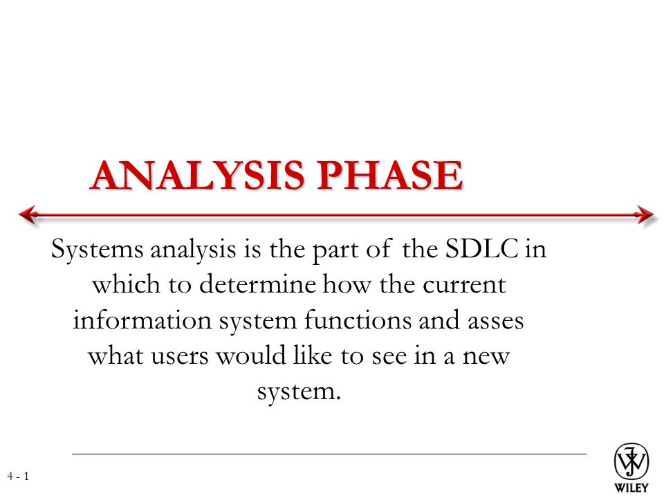 Analysis Phase Systems Analysis Is The Part Of The Sdlc In Which To