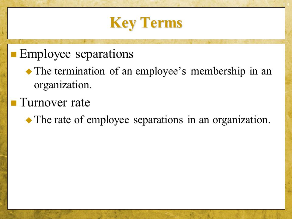 Key Terms Employee separations Turnover rate