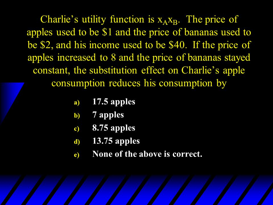Charlie's utility function is xAxB