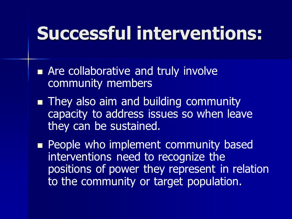 Successful interventions: