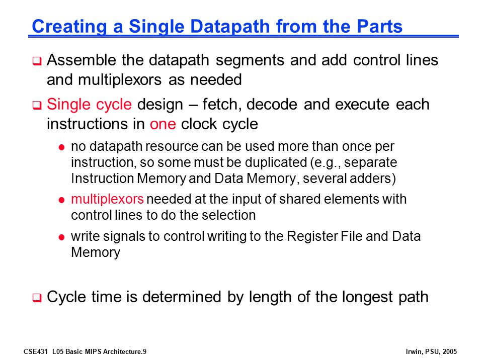 Creating a Single Datapath from the Parts