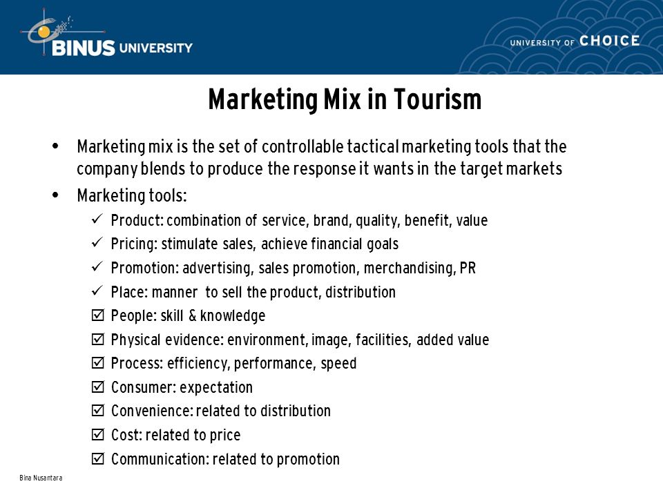 marketing mix in tourism industry