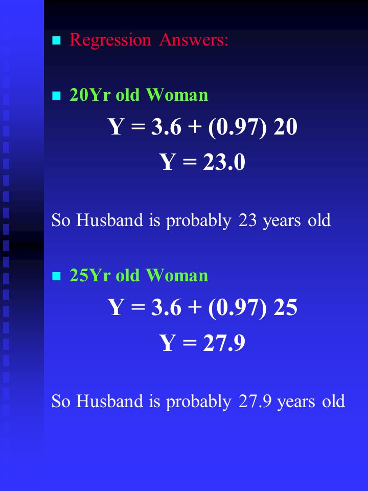 Regression Answers: 20Yr old Woman. Y = (0.97) 20. Y = So Husband is probably 23 years old.