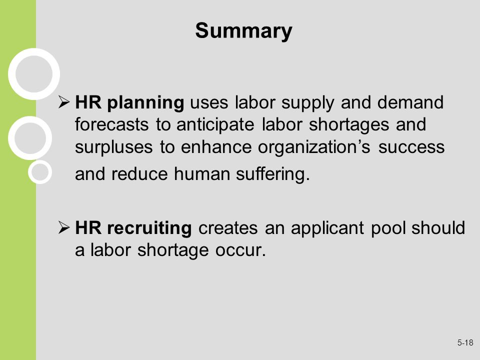Summary HR planning uses labor supply and demand forecasts to anticipate labor shortages and surpluses to enhance organization's success.