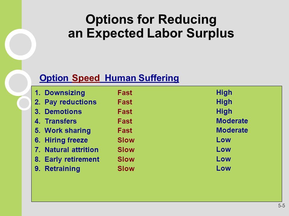 Options for Reducing an Expected Labor Surplus