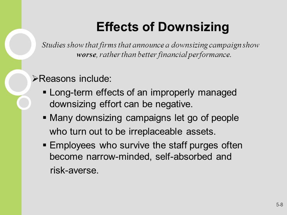 Effects of Downsizing Reasons include: