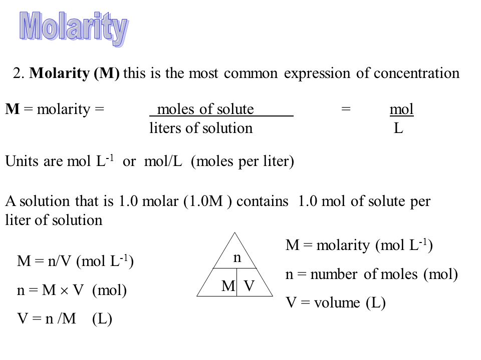 how to calculate moles using molarity