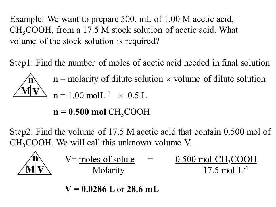 Example: We want to prepare 500. mL of 1