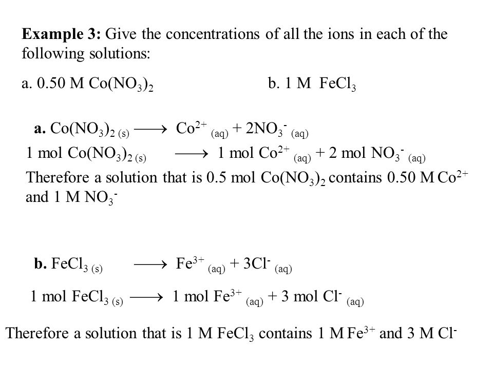 Example 3: Give the concentrations of all the ions in each of the following solutions: