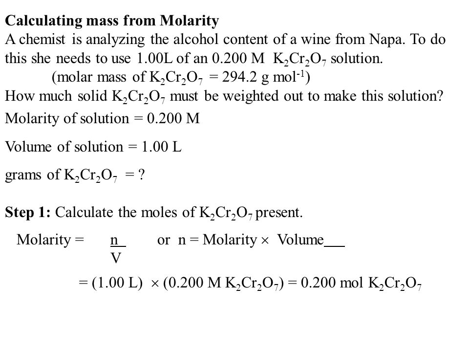 Calculating mass from Molarity