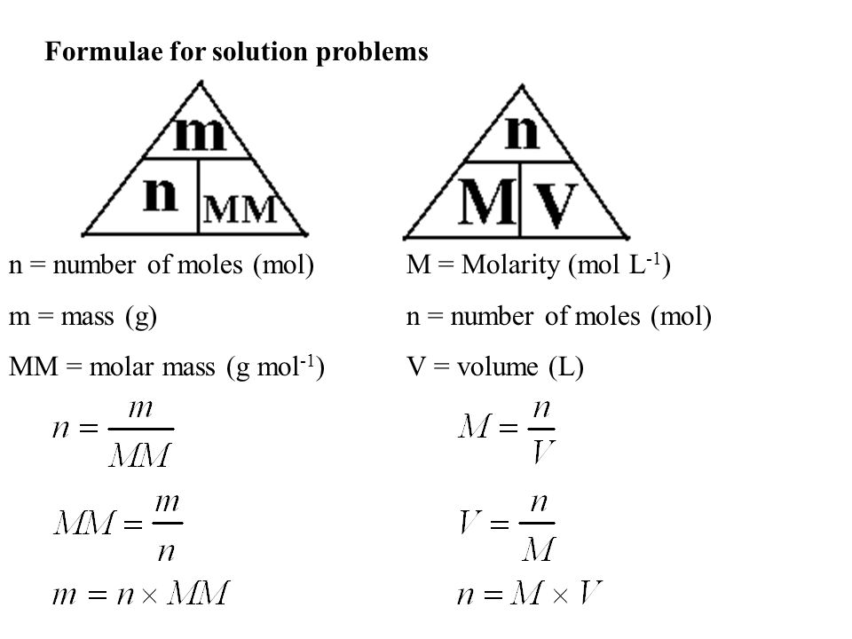 Formulae for solution problems