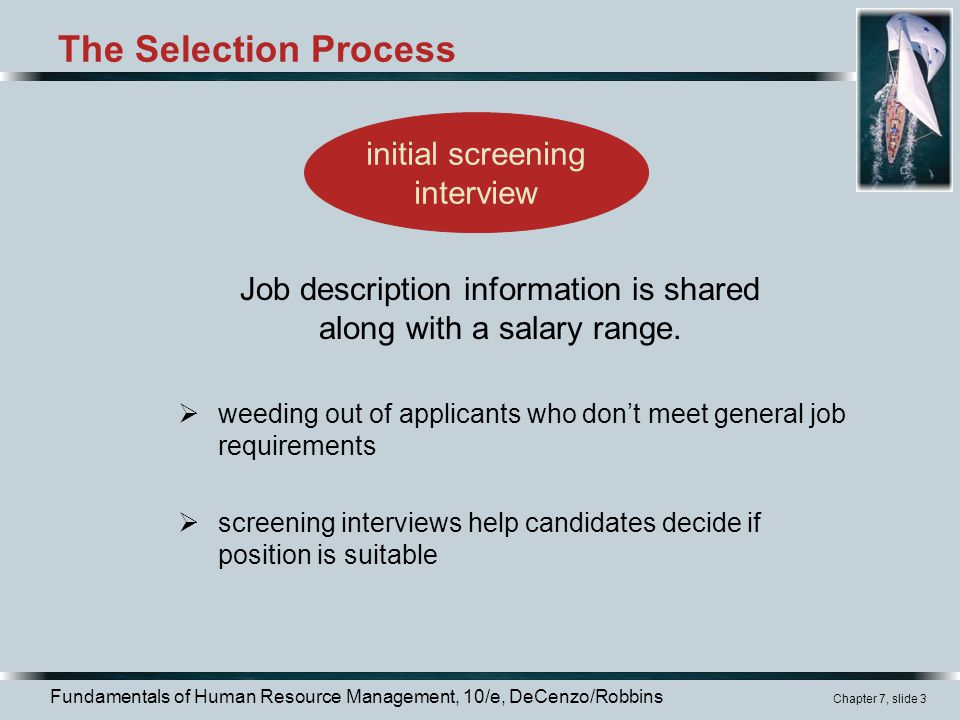 The Selection Process initial screening interview