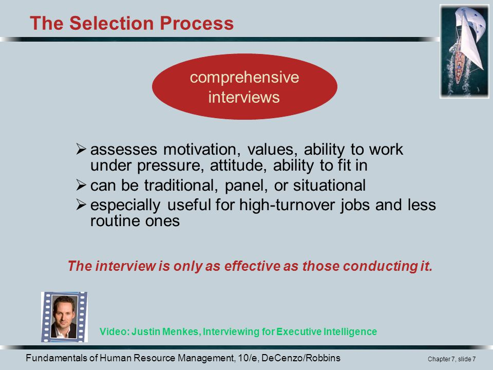 The Selection Process comprehensive interviews