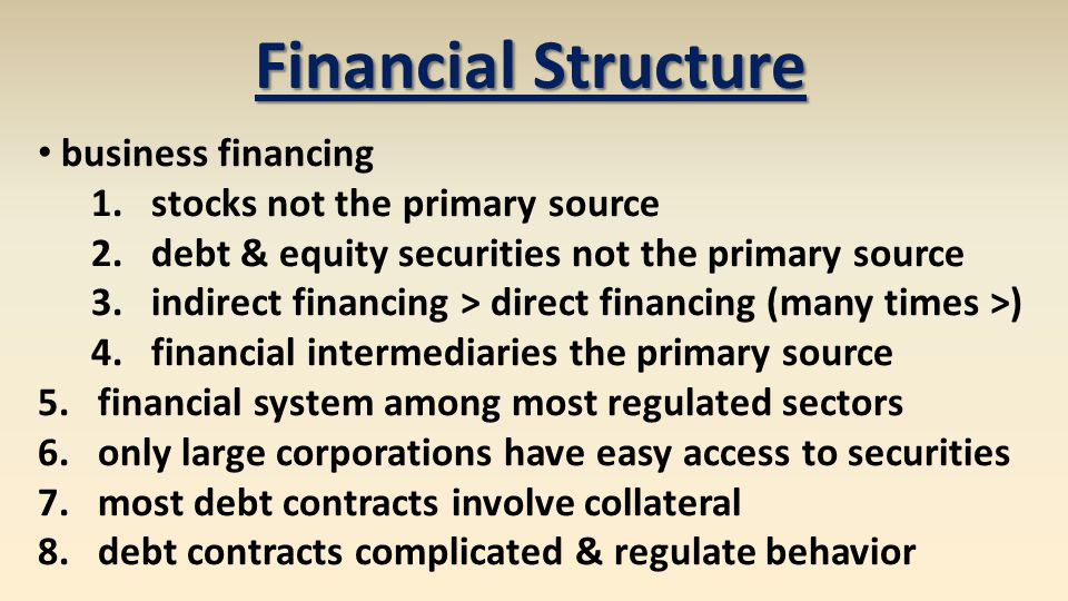 Financial Structure business financing stocks not the primary source