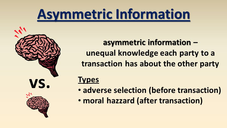Asymmetric Information asymmetric information –