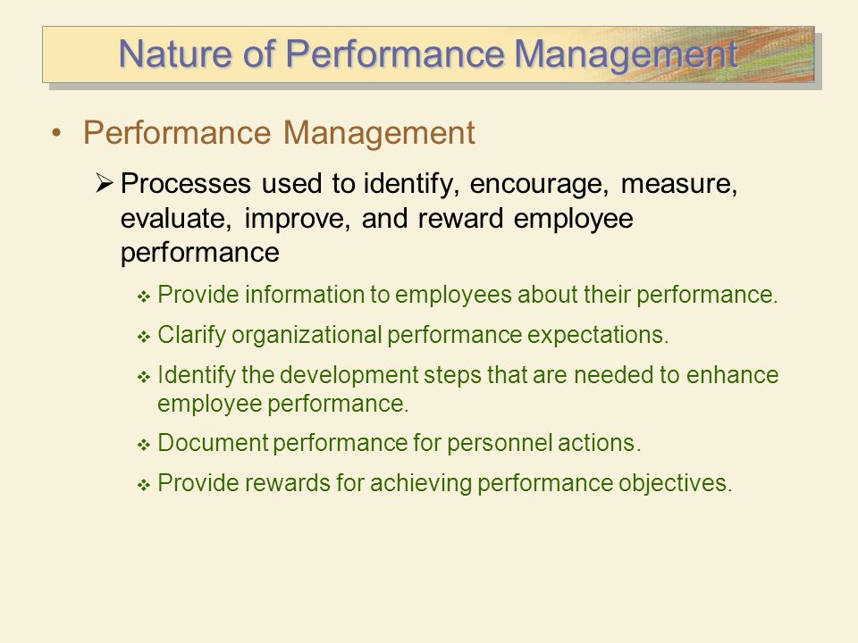 Nature of Performance Management
