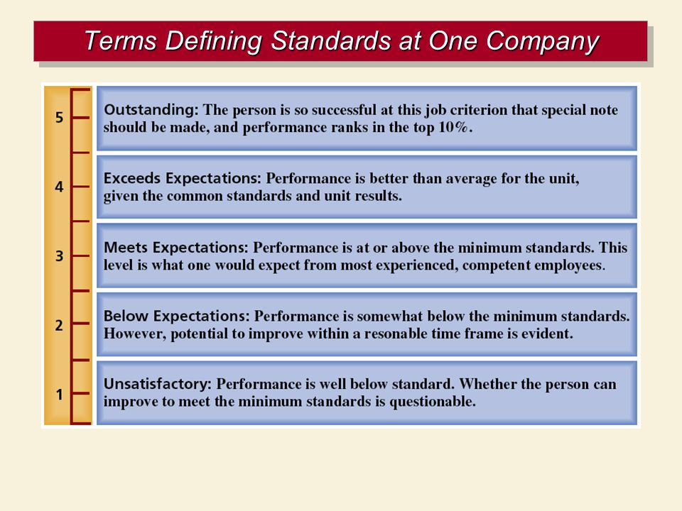 Terms Defining Standards at One Company
