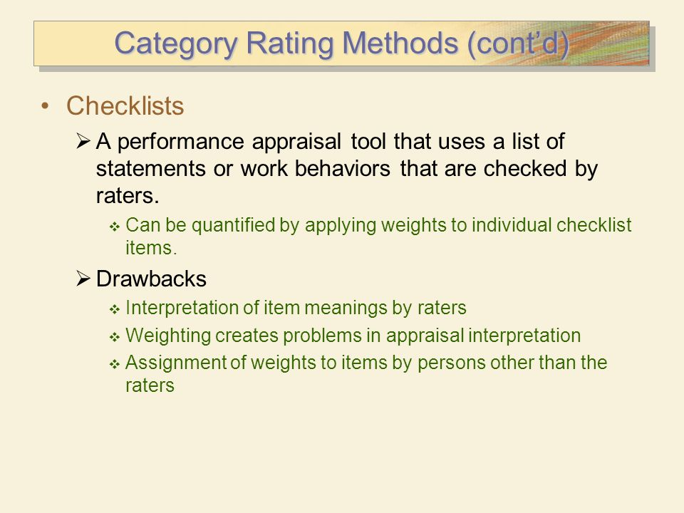 Category Rating Methods (cont'd)